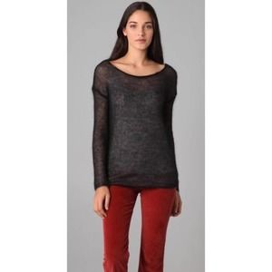 Theory Bevi Picturesque Mohair Black Sweater S